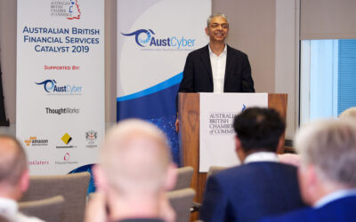 "Founder Niranjan Deodhar presents about ""Software that mimics a consultant"" at Australian British Financial Services Catalyst 2019 in London"